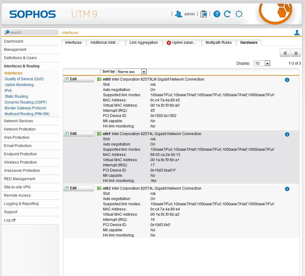 Sophos Netzwerkkarten