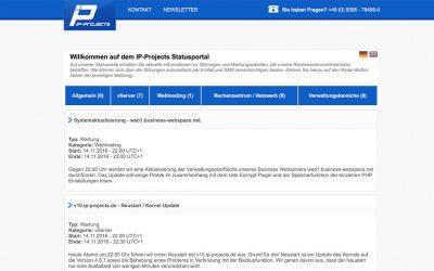 API für die IP-Projects Status Meldungen ist da