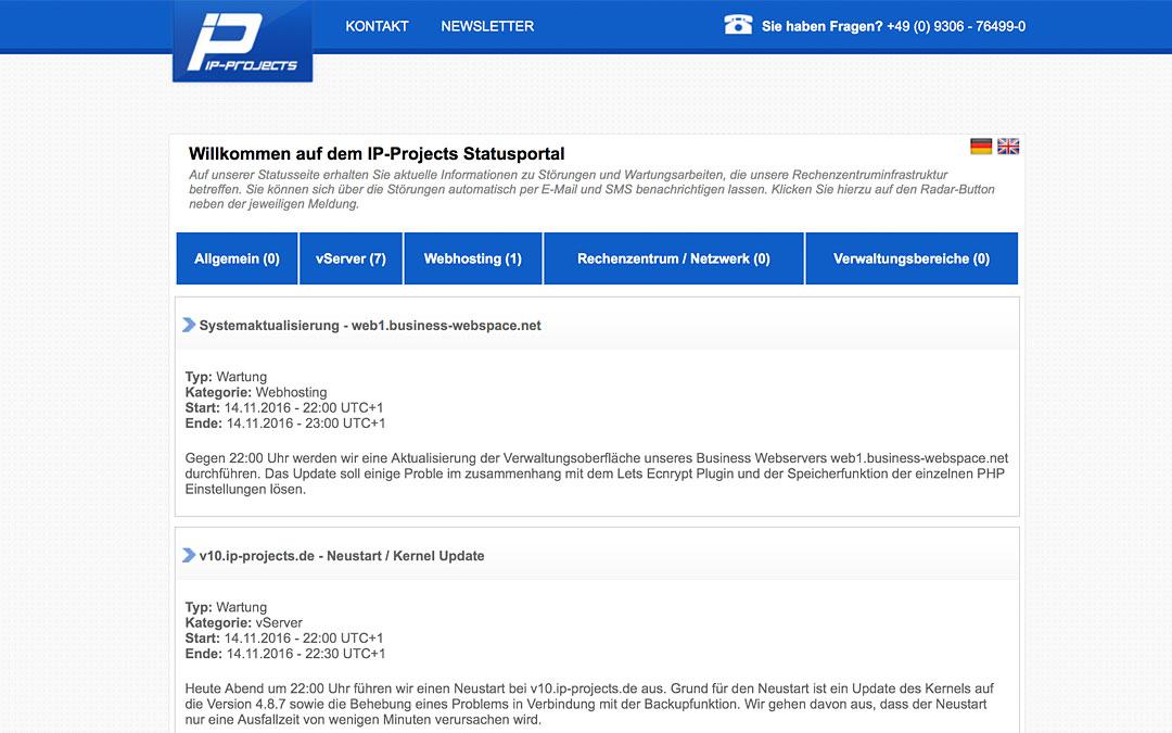 Ab Heute können Statusmeldungen von status.ip-projects.de abonniert werden.