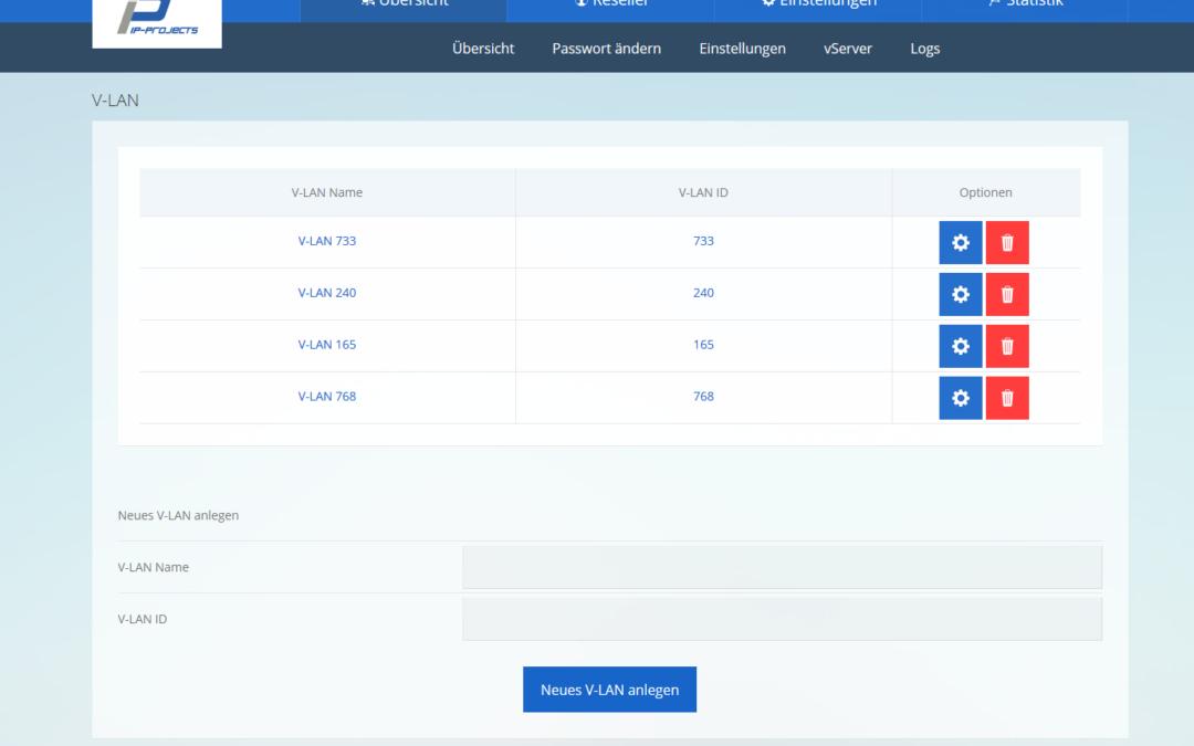vServer Webinterface V-LAN Management