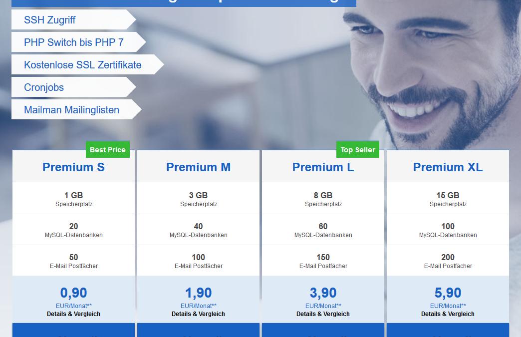 Tarifänderungen bei Premium Webhosting Produkten