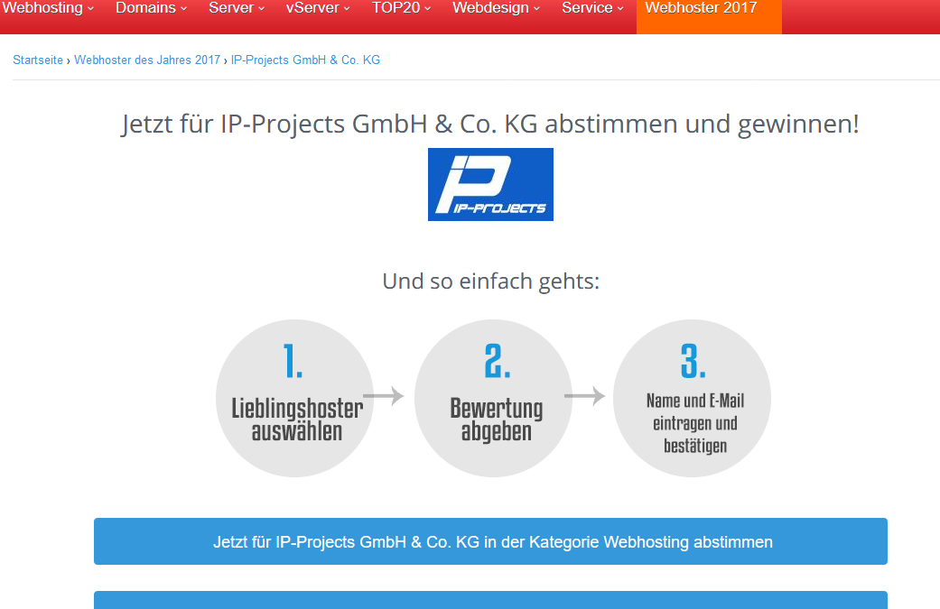 Nominiert in den Kategorien Webhosting, V-Server, Exchange und Root-Server