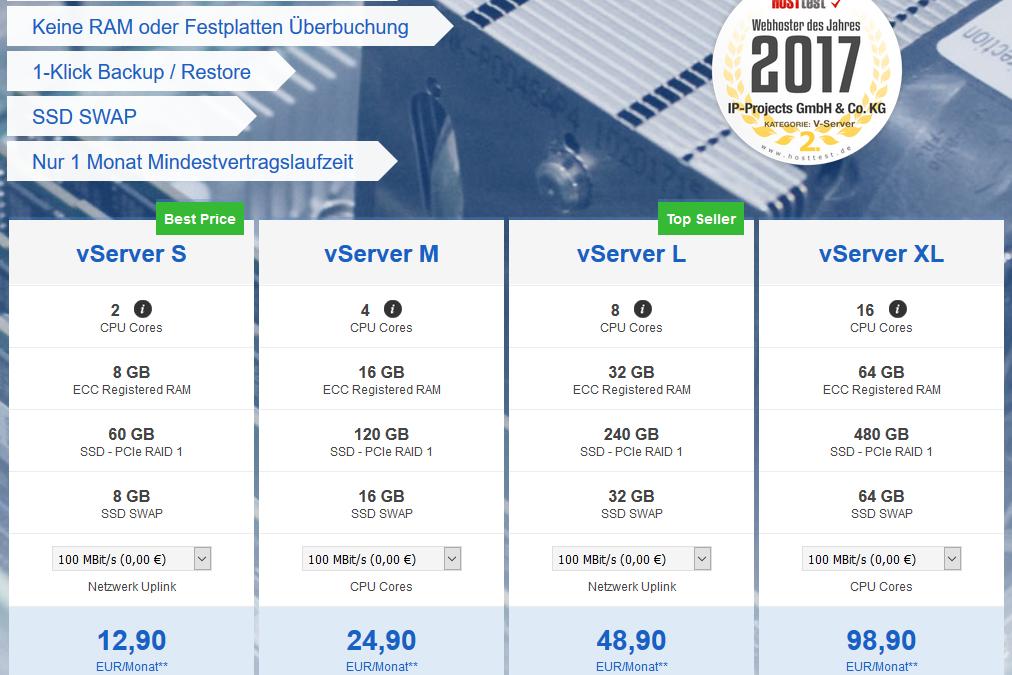 Neue Linux NVMe SSD vServer