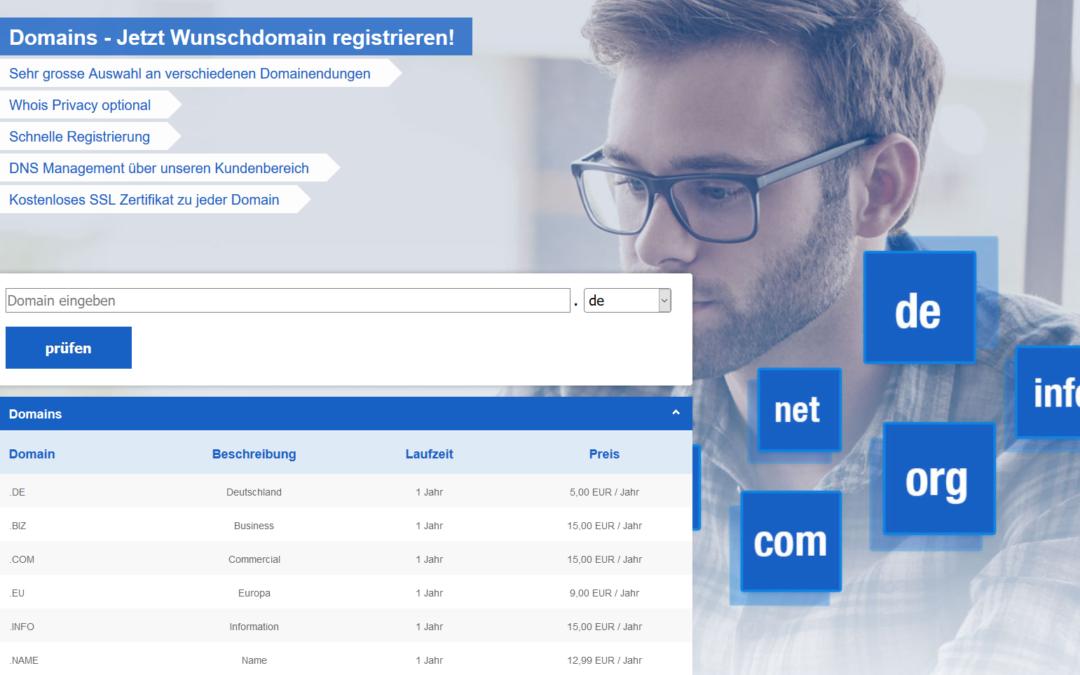 Neue Preise für .com .net .org .biz .info Domains